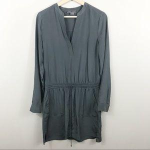 (Vince) Gray 100% Silk Long Sleeve Dress